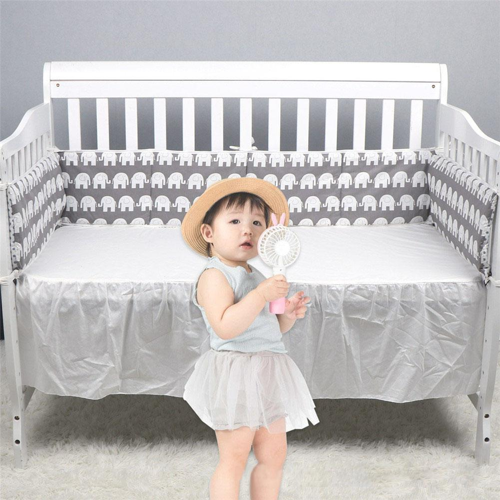 Kidlove Baby Bed Crib Bumper Gray Detachable Cotton Bumpers Infant Safe Fence Line Cot Protector
