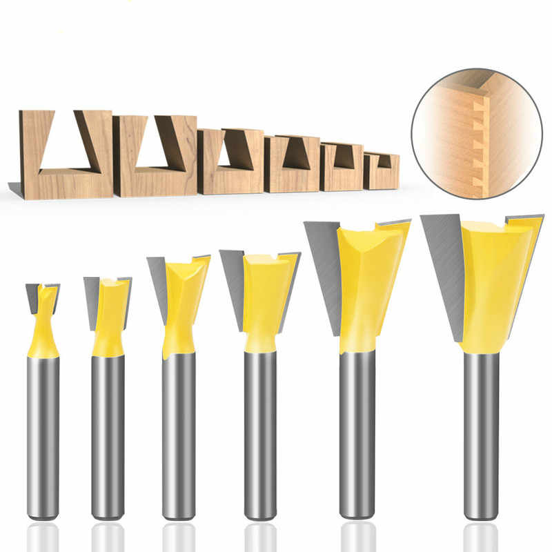 """6x Bits Dovetail Router Bit Set 1//4/"""" Shank Milling Cutter Woodworking Kit"""