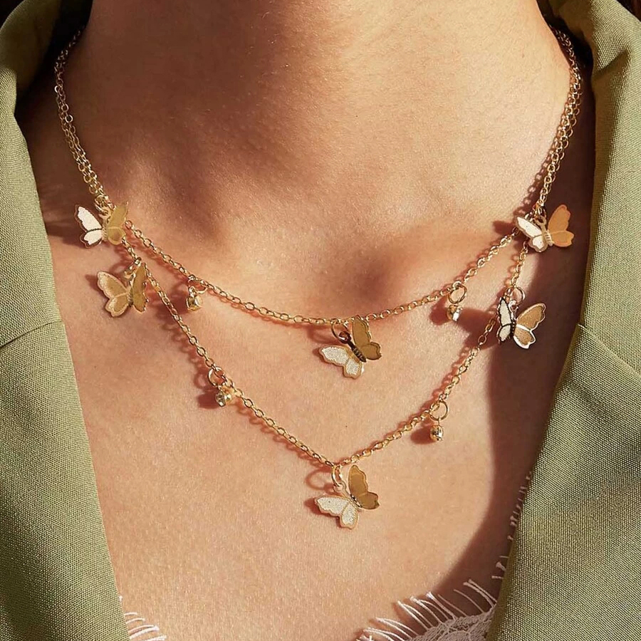 trendy gold butterfly pendant dainty layered bridesmaid charm necklace chokers fashion jewelry chain gift for women accessories