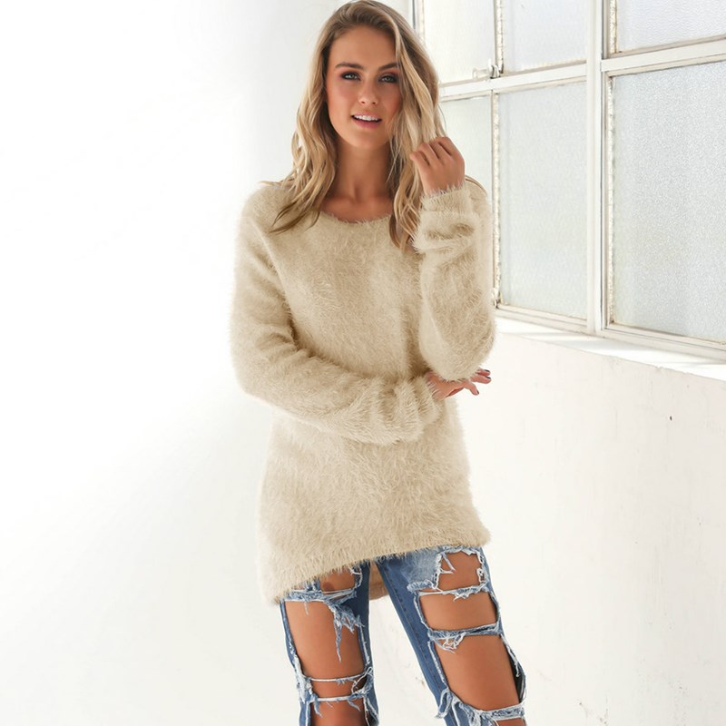 Plush Women Sweater Winter Warm Maglioni Donna Solid Jersey Mujer Invierno 10 Colors Black Pink Sweater Pull Long Femme Pullover