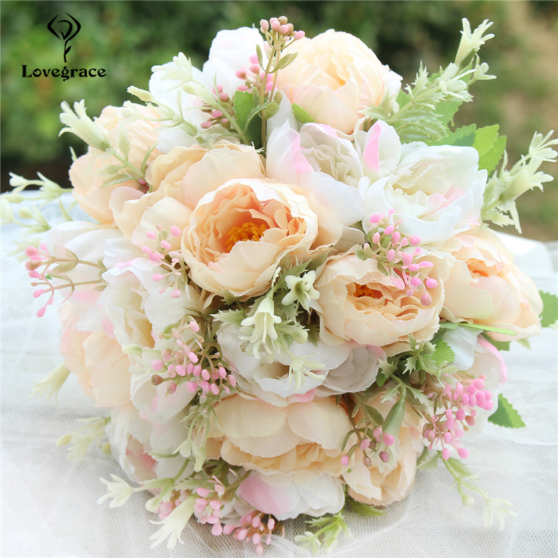 Lovegrace Bouquet Flower Artificial Silk Peony 18 Heads Champagne Flower Bouquet Peony Decor Bridal Bridesmaids Wedding Bouquets