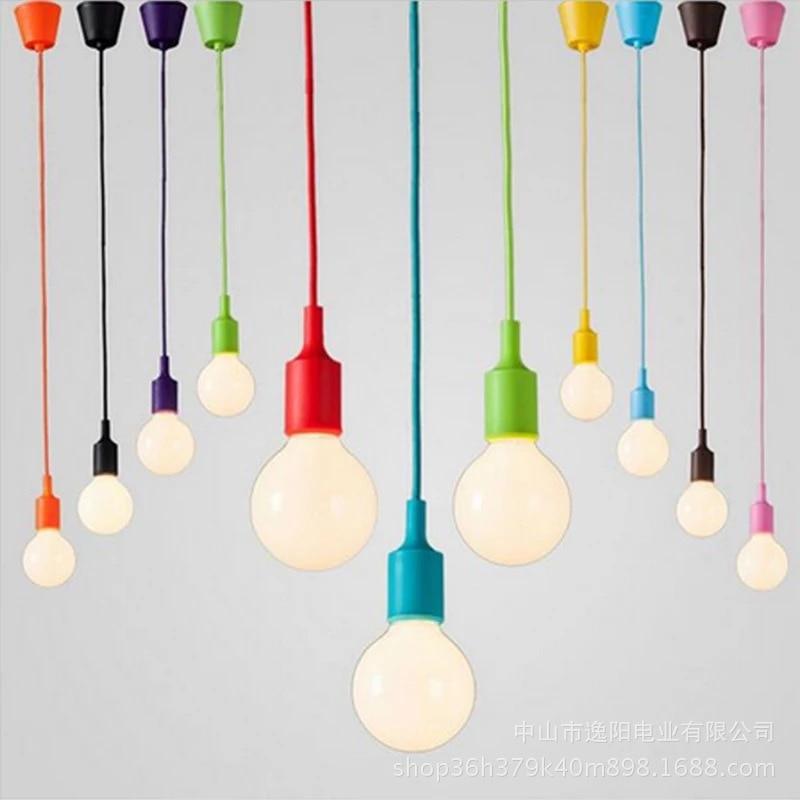 DIY Silicone Hanging Lamp Base Bulb Holder E27 Socket Colorful Line Chandelier Lighting Point Rubber Ceiling Light Fixture Home