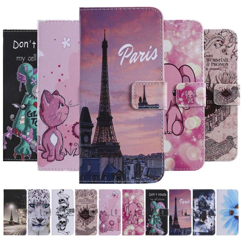 Cute Case For Samsung <font><b>Galaxy</b></font> <font><b>S10E</b></font> S10 Note 10 Pro 5G 9 8 S9 S8 Plus S7 S6 Edge S5 Casual Skull Painted Wallet Leather Cover E06F image