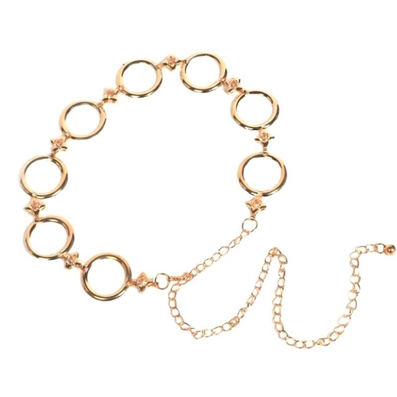 Women Fashion Round  Chain Belt Female Gold Waist Dress Thin Metal Belts 110cm Long Designer Tassel Fringe Chains
