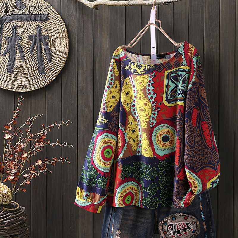 ZANZEA Spring Long Sleeve Floral Printed Blouse Women Vintage Cotton Linen Shirt Tunic Tops Casual Loose Bohemian Blusas Mujer 7