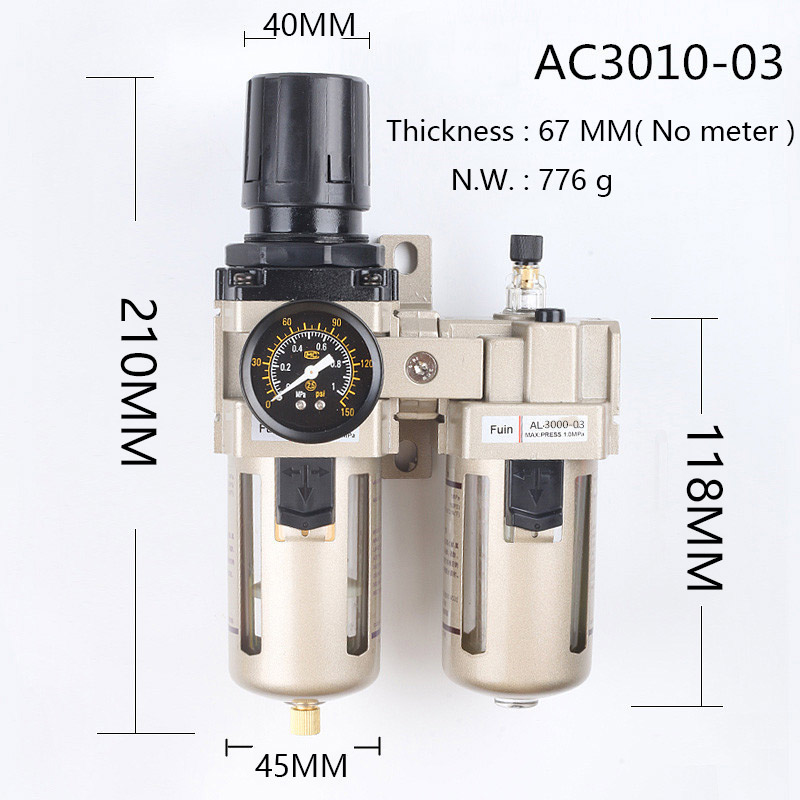 Free shipping AC3010-03 FRL air source treatment compressed air filter pressure regulator lubricator