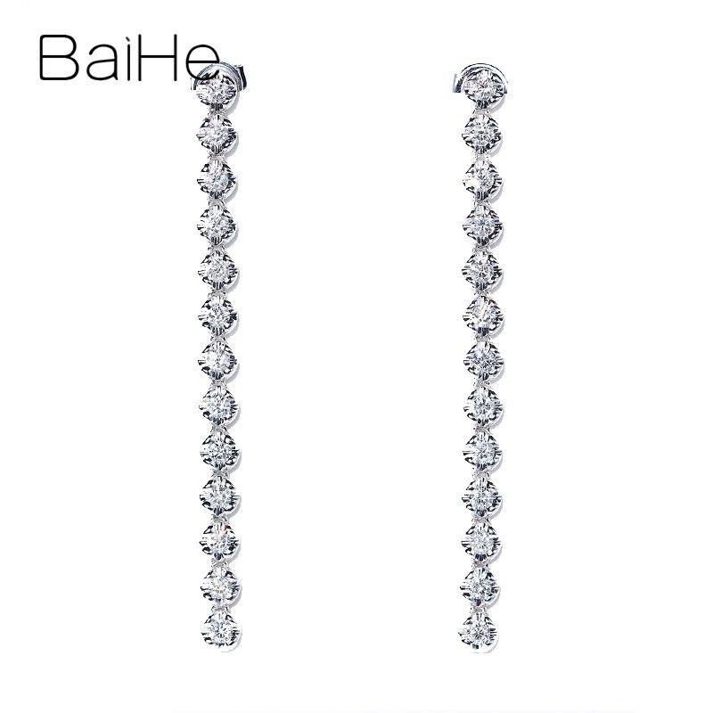 BAIHE Solid 14K White Gold Total 0.80ct H/SI Natural Diamonds Trendy Fine Jewelry Wedding 1 glyph beautiful Diamond Stud Earring