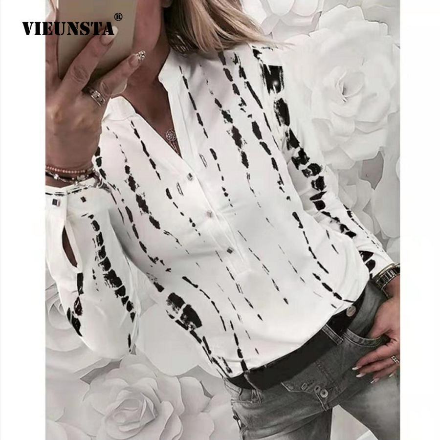 VIEUNSTA Sexy V-neck Button Office Blouse Elegant Pattern Printed Long Sleeve Shirt Women Slim Fit Plus Size Autumn Tops Blusas
