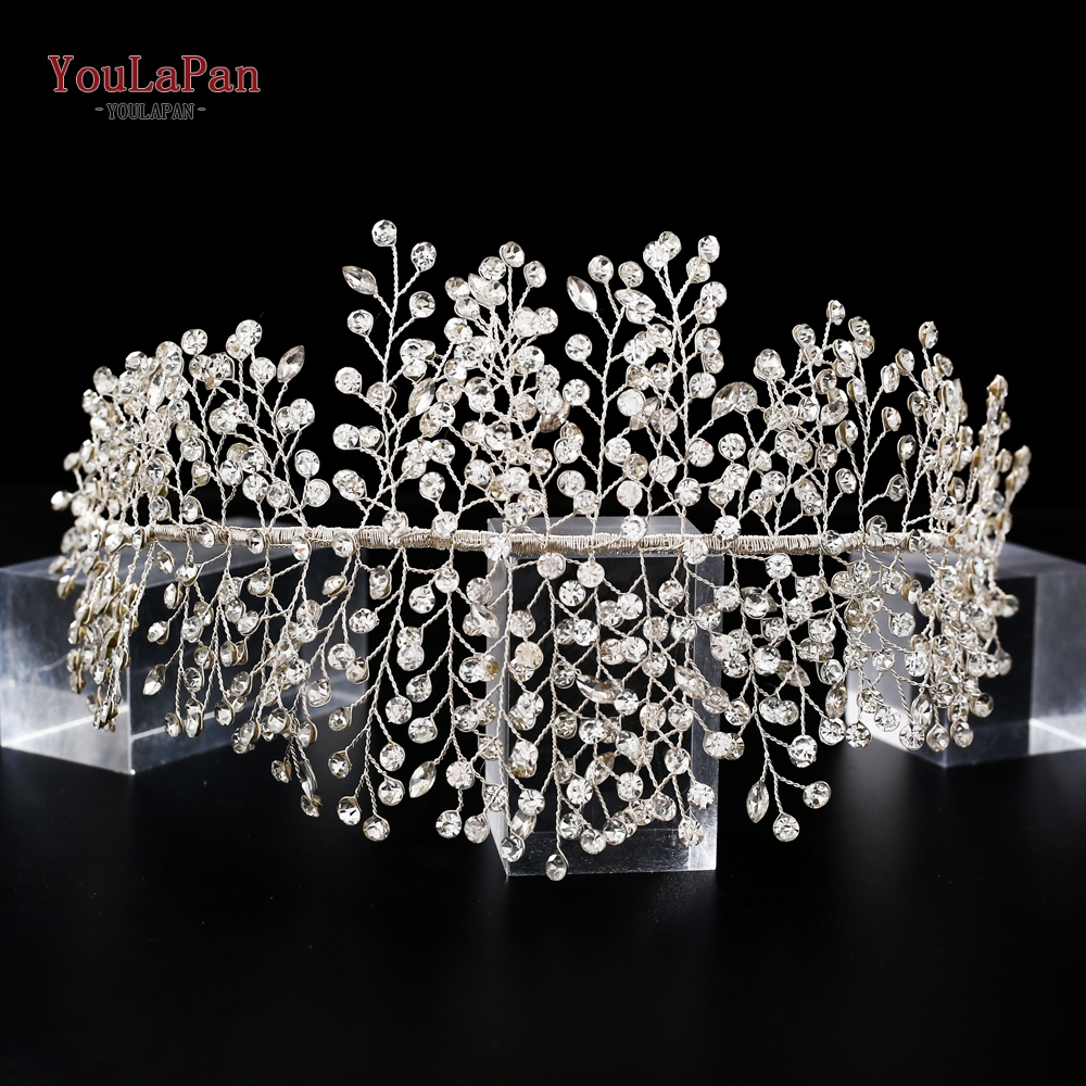 YouLaPan HP258 Handmade Crystal Rhinestone Tiaras And Crowns Wedding Headband Headpiece Bridal Hair Piece Prom Pageant Accessory