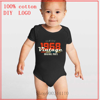 New born baby boy clothes 3 to 6 months Girl Boy Vintage 1968 Classic white Baby Bodysuit High Quality Cute Cotton Short Sleeves image