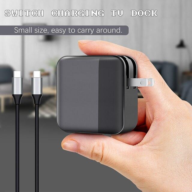 2 in 1 다기능 충전 도크 소형 PC 어댑터 닌텐도 스위치 게임 콘솔 용 USB Type-C HD 커넥터 TV 컨버터