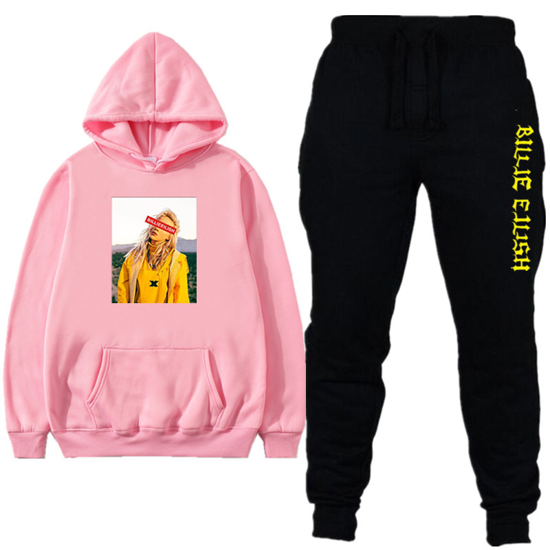 New Billie Eilish Hoodies Sweatshirts Tracksuits Men Sportswear Men Women Tracksuits White /pink /Red Hoodies Pants Sets