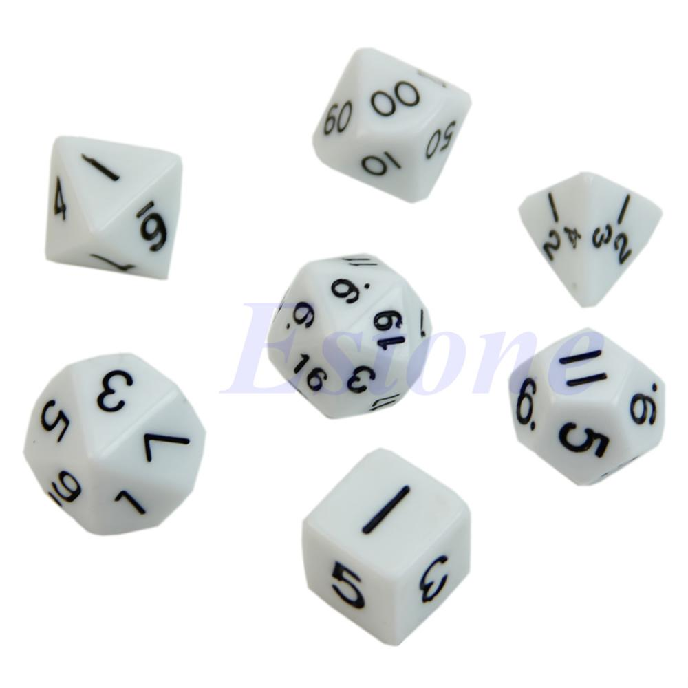7x Blue Sided Die D4 D6 D8 D10 D12 D20 For  D&D RPG Poly Dice Game