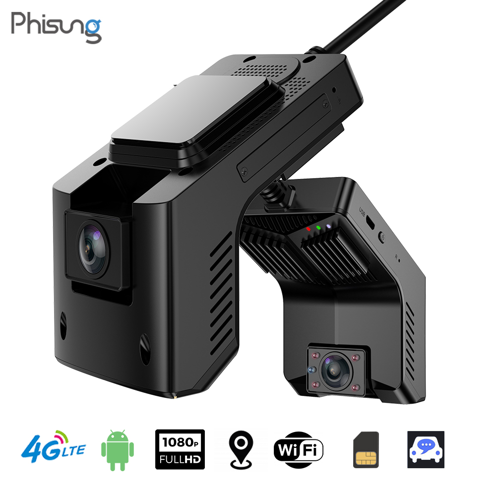 Phisung T2 4G Dash Cam w/ IR Night Vision Inside Android WiFi GPS Tracking Dual Car DVR Camera LiveView FHD 1080P Drive Recorder
