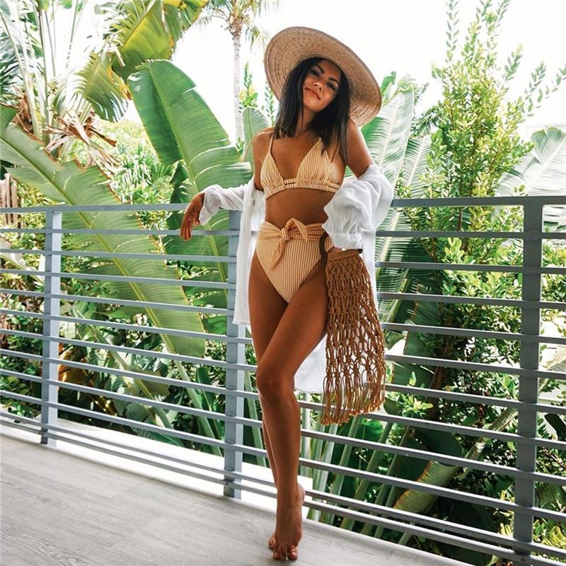 2020 Summer Sexy Bikini Set Vintage Striped Push Up High Waist Swim Wear Bathing Suit Women Swimsuit Biquini Brazilian Bikinis 5