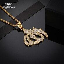 Zircon cubique de haute qualité Islam Allah colliers pour femmes/fille couleur or breloques arabes musulmans pendentif bijoux jamais fané