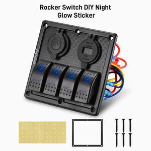 Image 3 - 4 Gang 12V Dual USB Port Car Marine Boat LED Rocker Switch Panel Waterproof Circuit Digital Voltmeter LED Rocker Switch Panel
