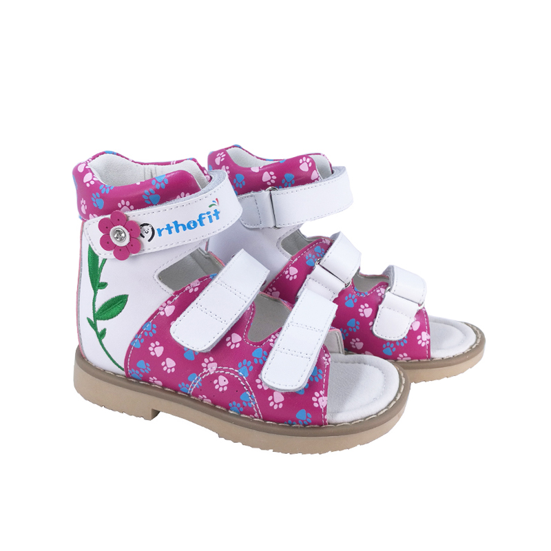 Girls New Fashion Leather Sandals Orthopedic Shoes For Children Embroidery Flower Summer Flatfeet Footwear Shoes For Kids