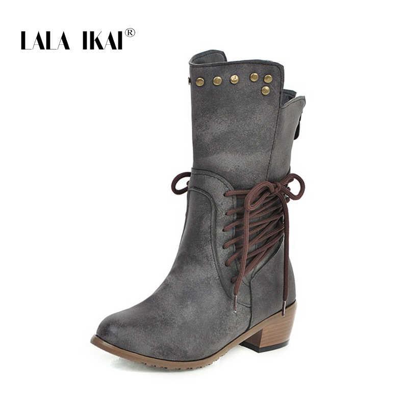 LALA IKAI 2019 kadın botları sonbahar/kış yeni yuvarlak ayak dantel-up düz topuk bayan ayakkabı motosiklet parti ayakkabıları XWA10498-4