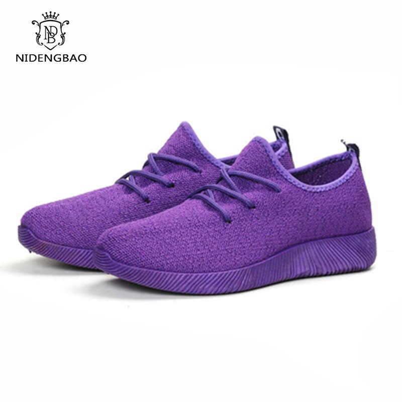 Şeker Renk Nefes Örgü Ayakkabı Kadın Lace up Fly Örgü gündelik kadın ayakkabısı tenis feminino Hızlı Teslimat Kadın Ayakkabı