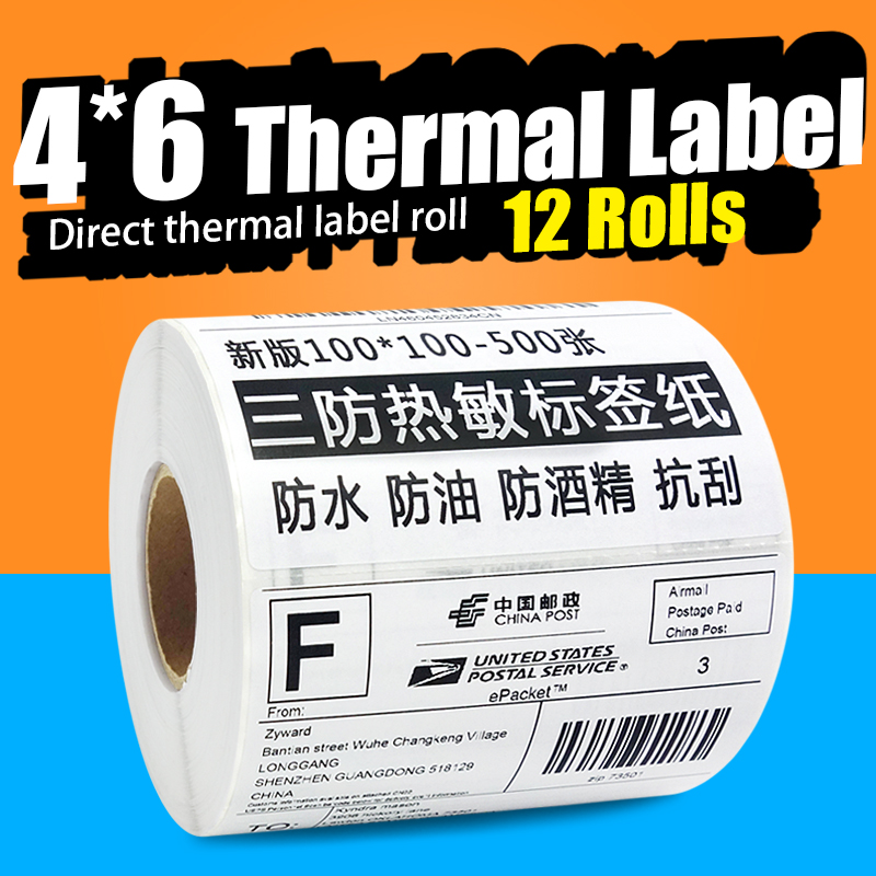 ( 12 Rolls / Case ) Direct Thermal Label Roll 100x150mm 500 Pcs Stickers Each Roll For Shipping UPS Amazon