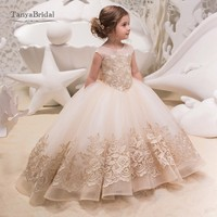 Short Sleeves Flower Girl Dresses O Neck Lovely Girls Gold Lace Appliques Beauty Pageant Gown Wedding Party Dress