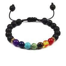 7 Chakra Pulseira Natural Lava Pedra Multicolor Perla Braceletes Para Mulheres Dos Homens Homme Tecer Corda Pulseira Ajustável Jóias Presentes