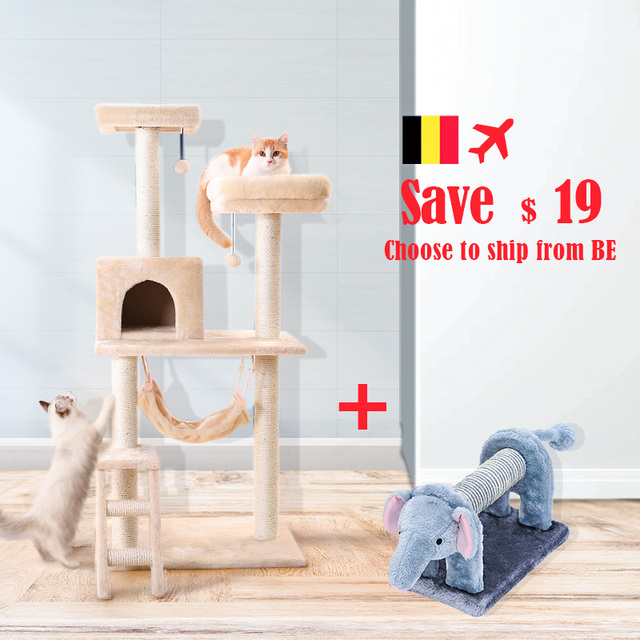 HOOPET Cat Toy Climbing Furniture Cat Scratching Wood Cute Elephant Lion Shape Interactive Toys Kitten Climbing Frame 2