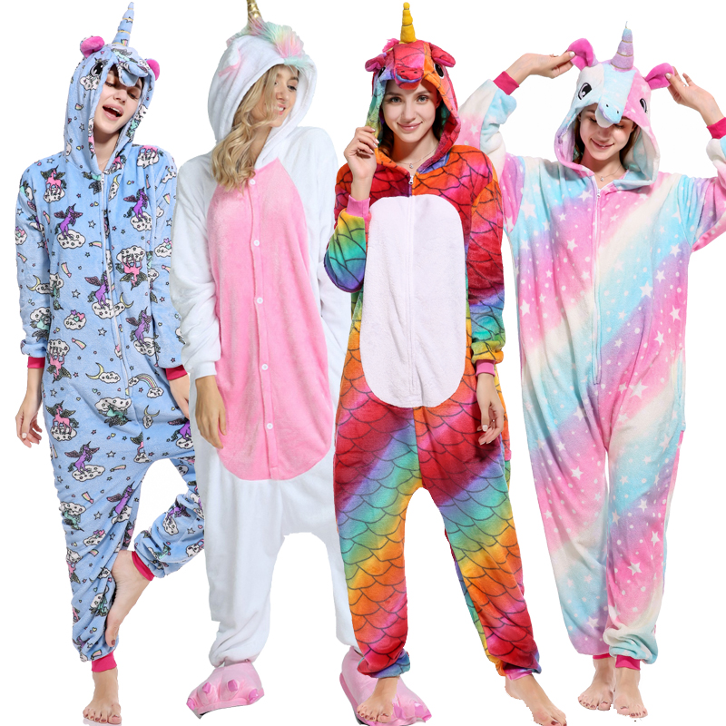 Adult Blue Stitch Christmas Deer Unicorn Pajama Sets Cartoon Sleepwear Women Pajamas Flannel Animal Pyjama Kigurumi Hooded