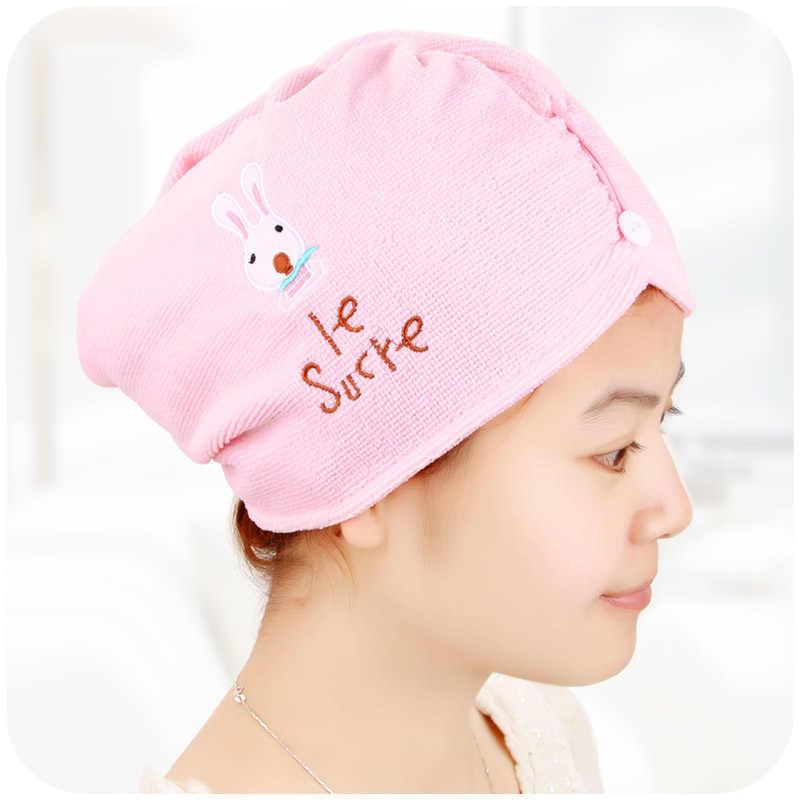 2019 microfibra linda de secado rápido del pelo de la tapa de la servilleta seca toallas turbante sombrero de baño Toallas de playa toallas de baño para mujer los adultos