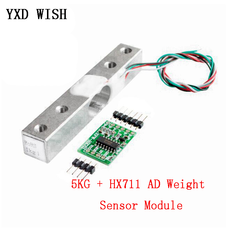 Load Cell 5KG + HX711 AD Module Weight Sensor Electronic Scale Aluminum Alloy Weighing Pressure Sensor DIY Electronic Scale Kit