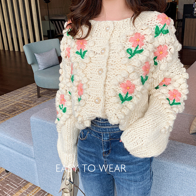 H.SA 2021 New Women Winter Handmade Sweater And Cardigans Floral Embroidery Hollow Out Chic Knit Jacket Pearl Beading Cardigans 5