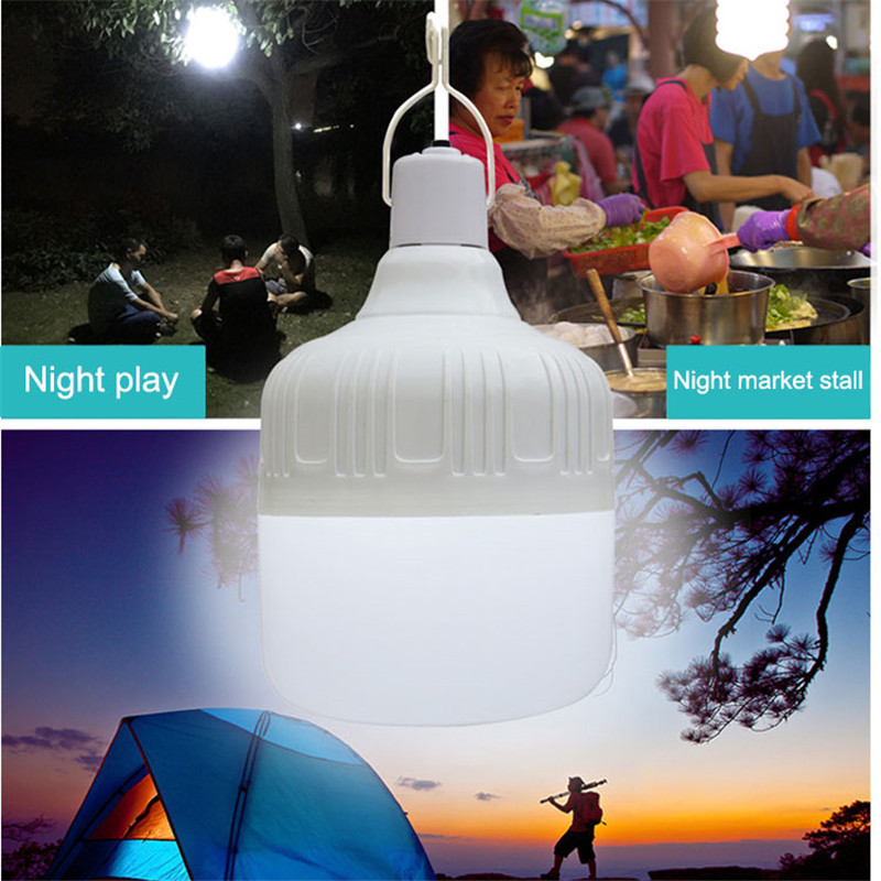 Rechargeable LED Night Light Bulb Emergency Lights Portable Battery Powered Outdoor BBQ Hanging Light For Patio/Porch/Garden