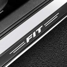 4 pçs estilo do carro de fibra carbono protetor do peitoril da porta do carro decoração adesivos decalques para honda apto porta auto limiar guardas acessórios