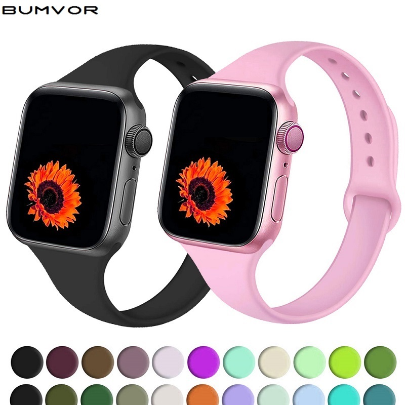 Slim Strap For Apple Watch Band 38mm 40mm Iwatch 5 4 3 Band 44mm 42mm Correa Narrow Thin Silicone Bracelet Apple Watch 5 Band 4