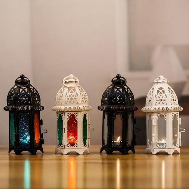 Moroccan Lantern Votive Candle Holder Hanging Lantern Ever Party Wedding Decoration Vintage Candlesticks Iron Glass Lantern Lamp 4
