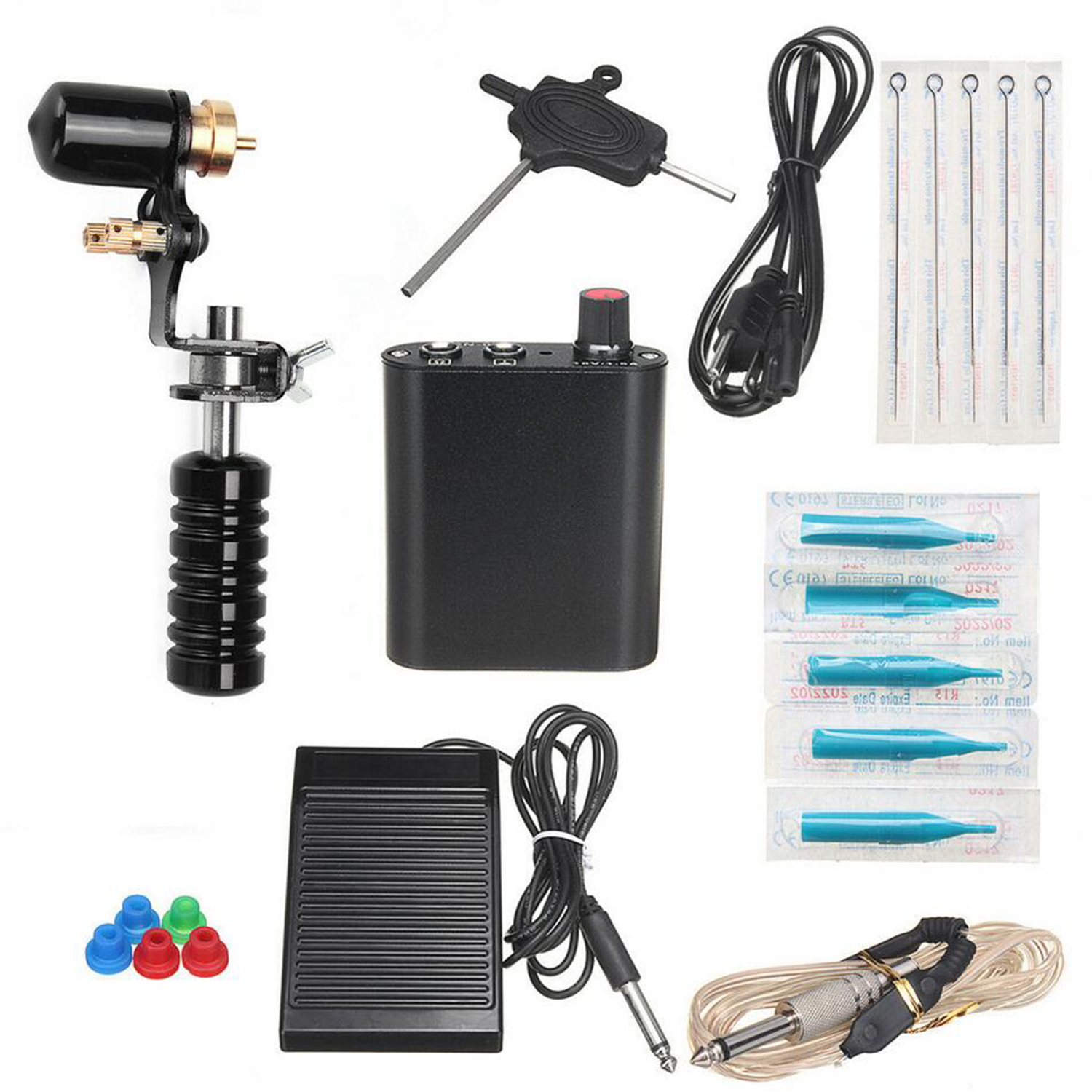 Tattoo Machine Set With Tatto-Power-Supply And Sterile Tattoo-Needles Beginner's Tool Kit 110V High-grade Motor Tattoo Kit