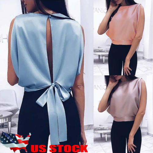 Hot Summer Women Blouse Casual Sleeveless Tank Top Vest Bowknot Pullover Top Shirt