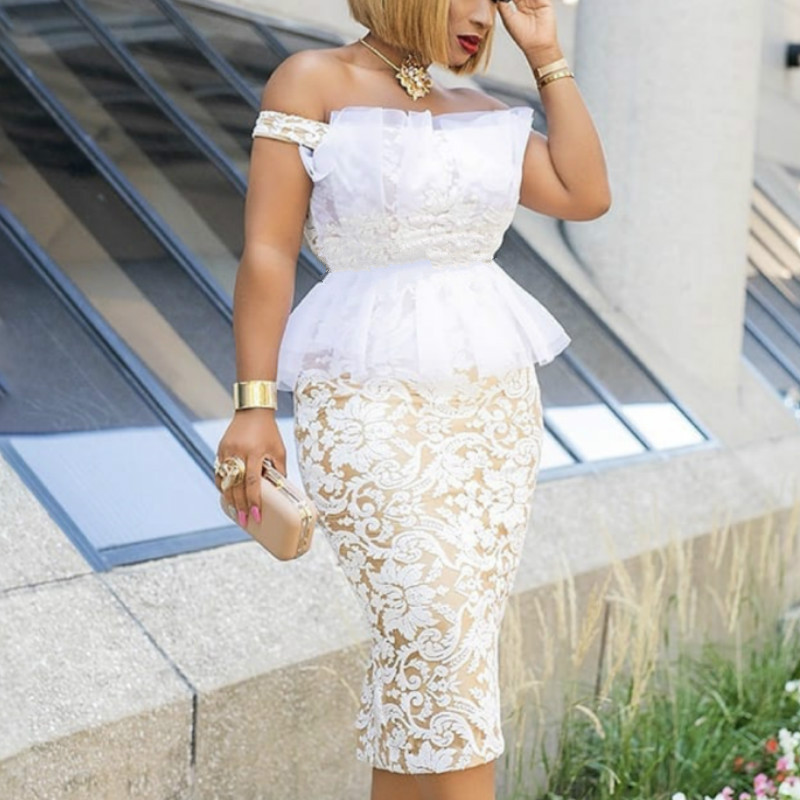 2020 Spring Elegent African Women Polyester Lace Plus Size Knee-length Dress