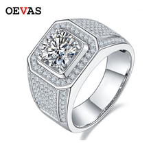 Moissanite Men Ring Fine-Jewelry Carbon Diamond OEVAS Wedding-Party 100%925-Sterling-Sparkling