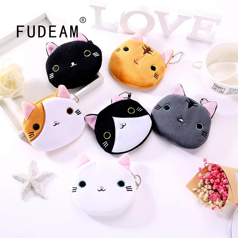 FUDEAM Soft Plush Cartoon Women Coin Purse Cute Animal Zipper Children Girl Coin Wallet USB Cable Headset Mini Bag Key Wallet