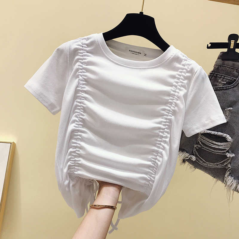 Gkfnmt Benda di Cotone Coreano Bianco della maglietta Delle Donne Vestiti di Estate Del Manicotto Del Bicchierino di Casual Maglietta Femminile Magliette E Camicette Nero Rosso Tee shirt femme
