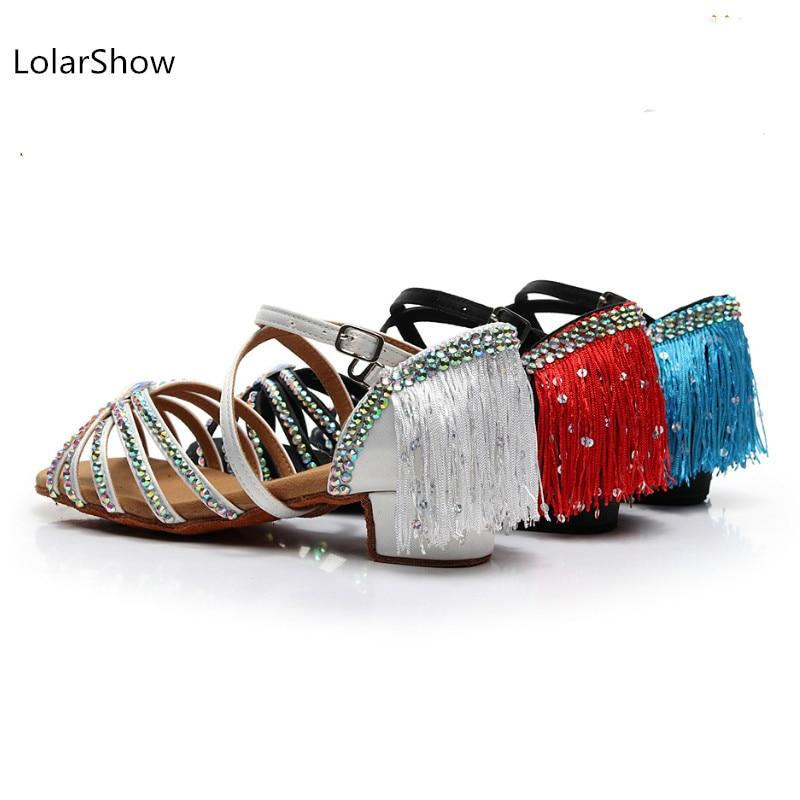 Chaussures de danse latine strass enfants fille chaussures de danse pour la compétition