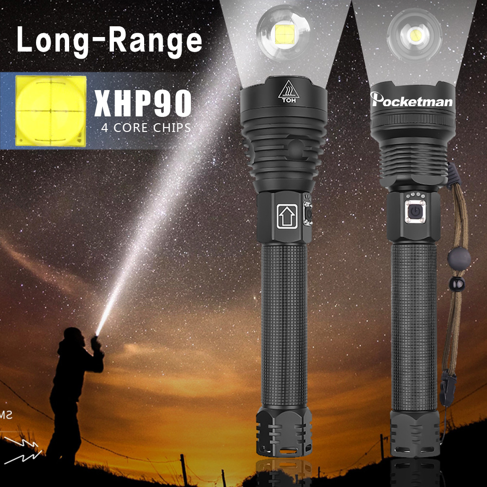 150000LM Longr-ange Most Powerful XHP90 LED Flashlight Zoom Waterproof XHP70.2 LED Torch Use 18650 Rechargeable 26650 Battery