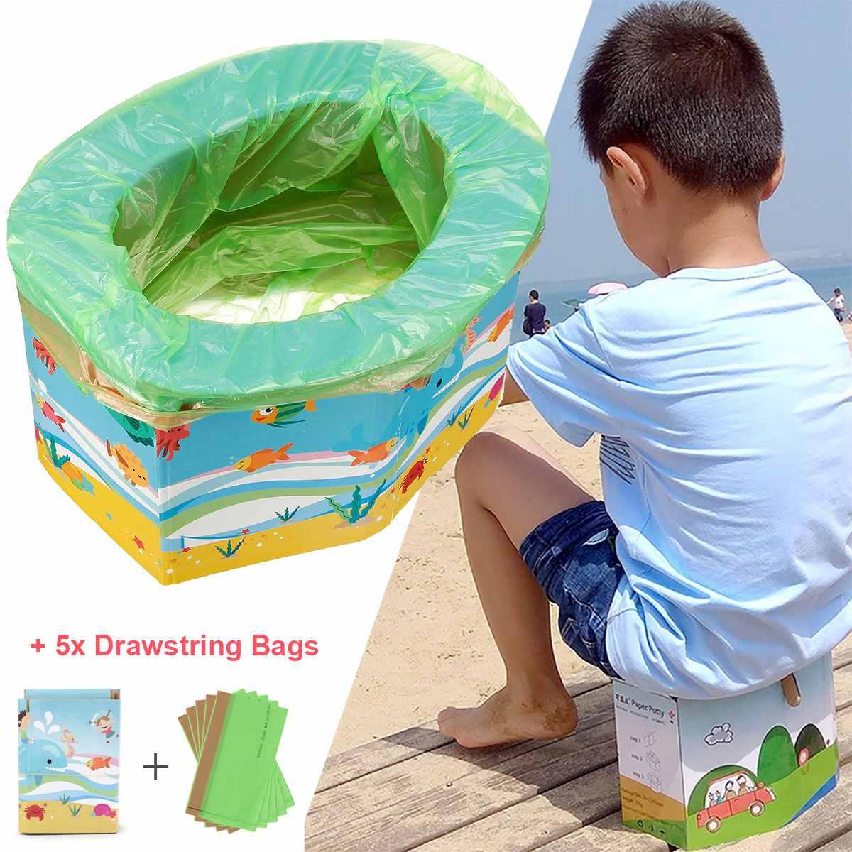 Foldable Child Kids Portable Folding Potty Seat Boys Girls Baby Travel Toilet Training Infant Emergency Potties With Free Bags