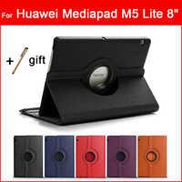 360 Rotatif Tablette étui pour huawei MediaPad M5 Lite 8 pouces JDN2-W09 JDN2-AL00 Pliant Tri-fold couverture intelligente PU coque de protection