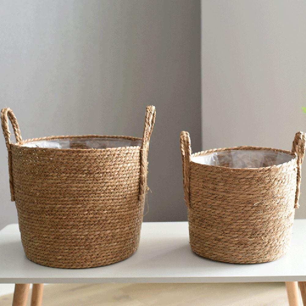 Скандинавская соломенная корзина для хранения ротанговый напольный