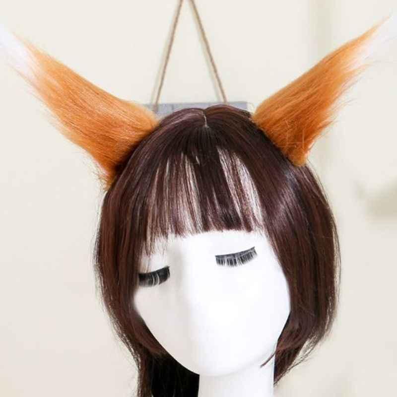 1 çift kontrast renk kedi kurt kulaklar uzun kabarık peluş saç tokası s Anime Cosplay kostüm saç tokası renkli karikatür Lolita parti