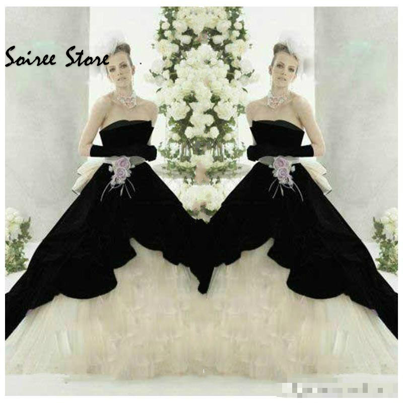 Black And Ivory Chubby Wedding Dresses Ball Gown Strapless Country Gothic Wedding Dress Boho Puffy Organza Sash Bow Bride Dress