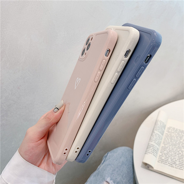 Love Heart Phone Case For iPhone 11 12 Pro Max 7 8 Plus X XR XS Max Candy Color Square Frame Back Cover For iPhone 7 8 Plus 2